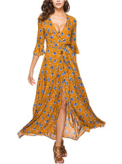 Surplice-Belt-Printed-Polyester-Maxi-Dress
