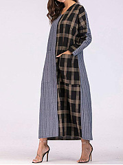 V-Neck  Patch Pocket  Plaid Striped Maxi Dress