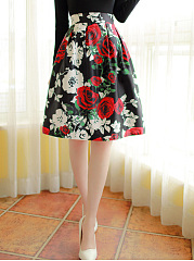 Absorbing-Floral-Printed-Flared-Midi-Skirt