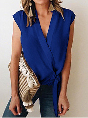 Spring Summer  Chiffon  V-Neck  Lace-Up  Plain  Sleeveless Blouse