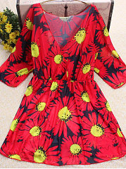 Red Floral V-Neck Women Bohemian Tunic