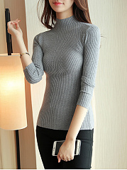 Basic High Neck  Plain Striped Sweater