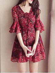 Tie Collar  Floral Printed  Bell Sleeve Shift Dress