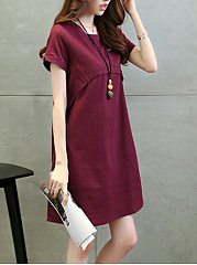 Round Neck  Plain Shift Dress