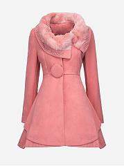 Faux-Fur-Collar-Single-Button-Diamante-Plain-Woolen-Coat