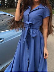 Turn Down Collar  Belt  Plain Maxi Dress