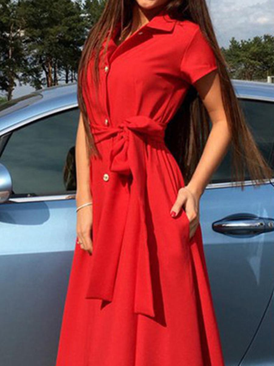 Turn Down Collar  Belt  Plain Maxi Dress