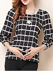 Autumn Spring  Polyester  Women  Round Neck  Plaid  Long Sleeve Blouses