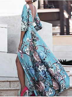 Round Neck Elegant  Printed Maxi Dress