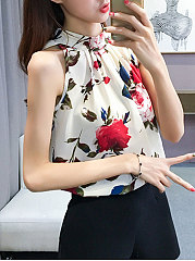 Summer  Polyester  Women  Floral Printed  Sleeveless Blouses