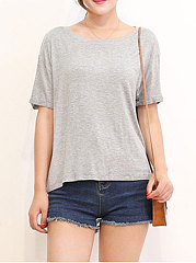 Spring-Summer-Cotton-Women-Round-Neck-Plain-Short-Sleeve-T-Shirts
