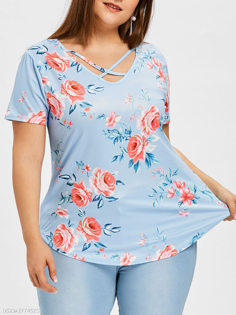 Asymmetric Neck  Curved Hem  Floral  Short Sleeve Plus Size Tops