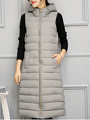 Hooded  Slit Pocket Zips  Plain  Sleeveless Waistcoat
