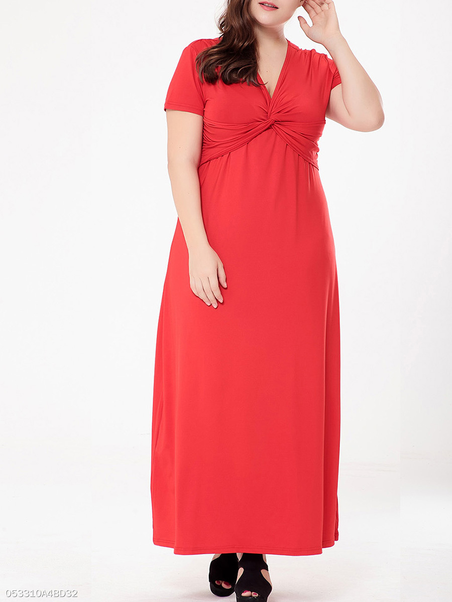 Graceful Ruched Empire Deep V-Neck Solid Plus Size  Maxi Dress