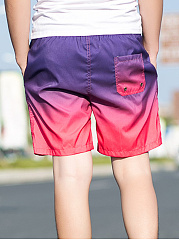Drawstring Elastic Waist  Color Block  Straight  Mid-Rise Board Shorts