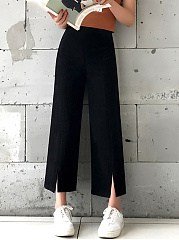 Plain-Wide-Leg-Slit-Casual-Pants-In-Black