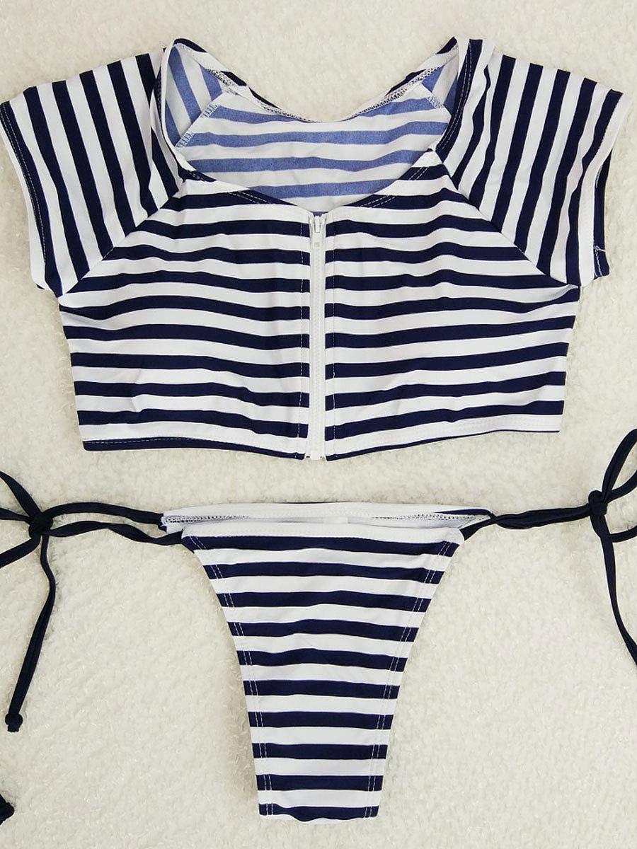 Women Sexy Push Up Striped High Neck Bikini