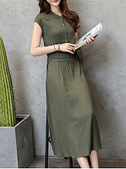 Round Neck  Patch Pocket Single Breasted  Plain Maxi Dress