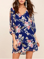 V-Neck  Floral Shift Dress