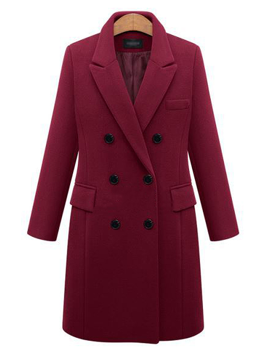 Lapel  Double Breasted Flap Pocket  Plain Woolen Coat