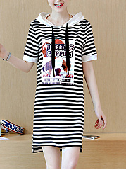 Hooded  Cartoon Striped Shift Dress