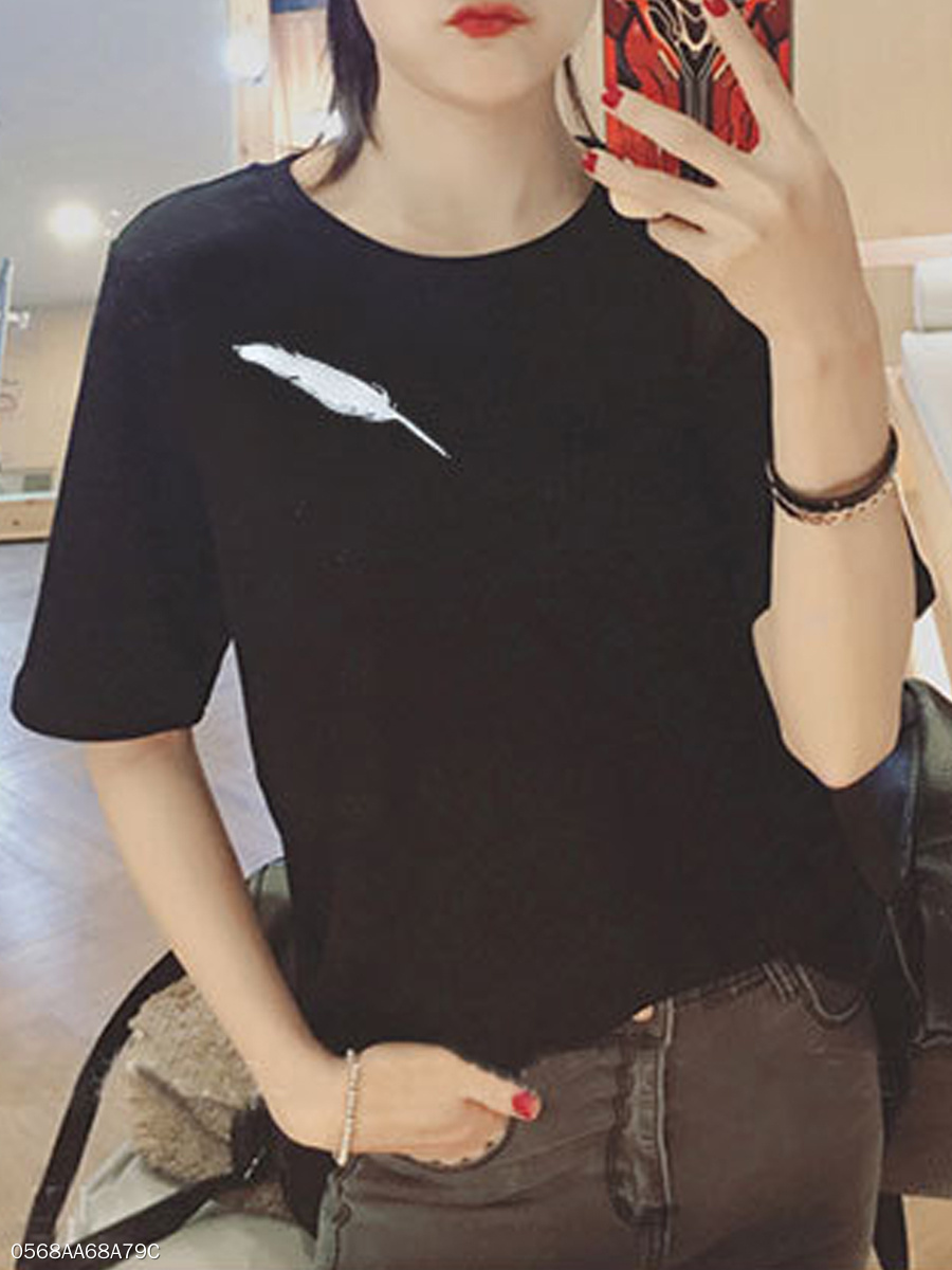 Spring Summer  Polyester  Women  Round Neck  Feather Short Sleeve T-Shirts