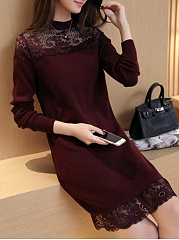 Band Collar Decorative Lace Hollow Out Plain Sweater Dress