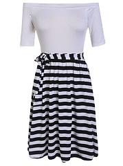 Off-Shoulder-Striped-Bowknot-Summer-Skater-Dress