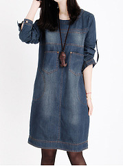 Round-Neck-Pocket-Light-Wash-Denim-Shift-Dress