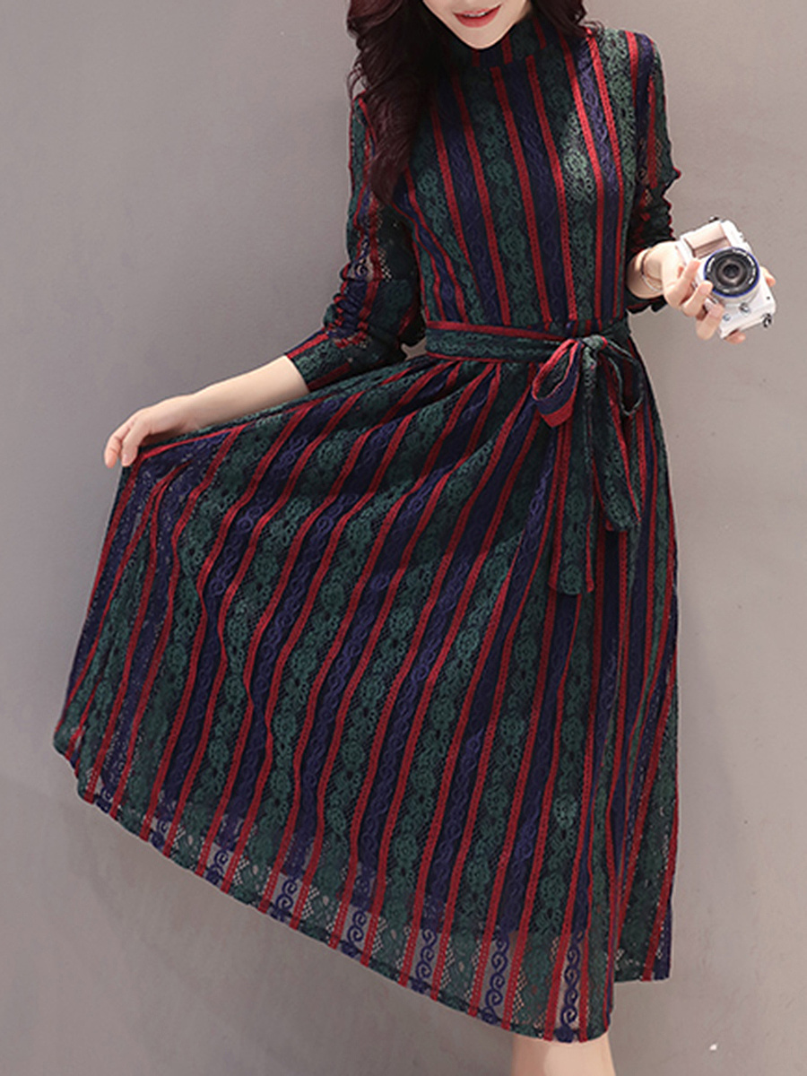 Band Collar Vertical Striped Lace Hollow Out Maxi Dress