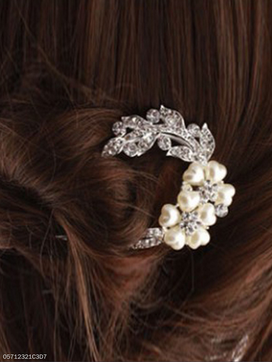 Rhinestone White Pearl Hair Pin