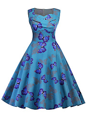 Sweet-Heart-Butterfly-Printed-Skater-Dress