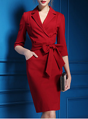 Surplice-Belt-Plain-Blend-Bodycon-Dress