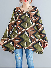 Round Neck  Asymmetric Hem  Abstract Print Long Sleeve T-Shirts