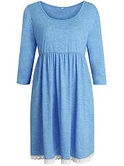 Casual-Round-Neck-Plain-Decorative-Lace-Pocket-Skater-Dress