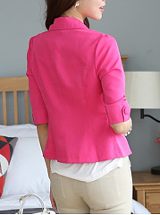 Notch Lapel Half Sleeve Single Button Plain Blazer