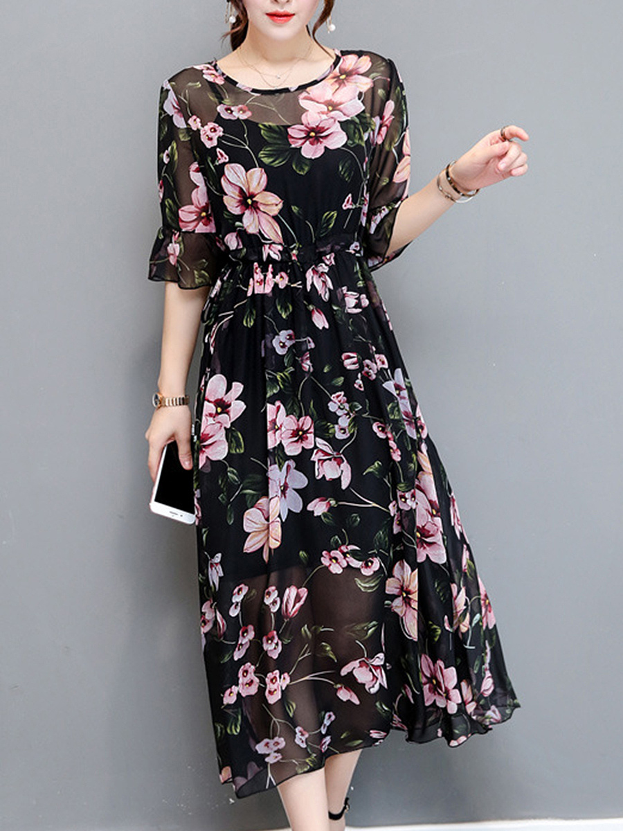 See-Through Floral Bell Sleeve Round Neck Chiffon Maxi Dress
