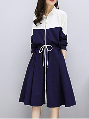 Band Collar  Drawstring  Chain  Color Block Colouring Skater Dress