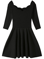 Black Scallop Neck Half Sleeve Mini Skater Dress