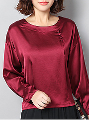 Round Neck  Decorative Buttons  Plain Blouses