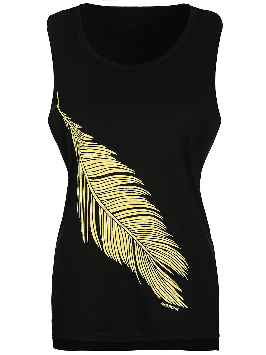 Feather Printed Round Neck Sleeveless T-Shirt