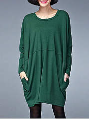 Round-Neck-Plain-Polyester-Shift-Dress