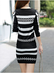Round Neck  Geometric Bodycon Dress
