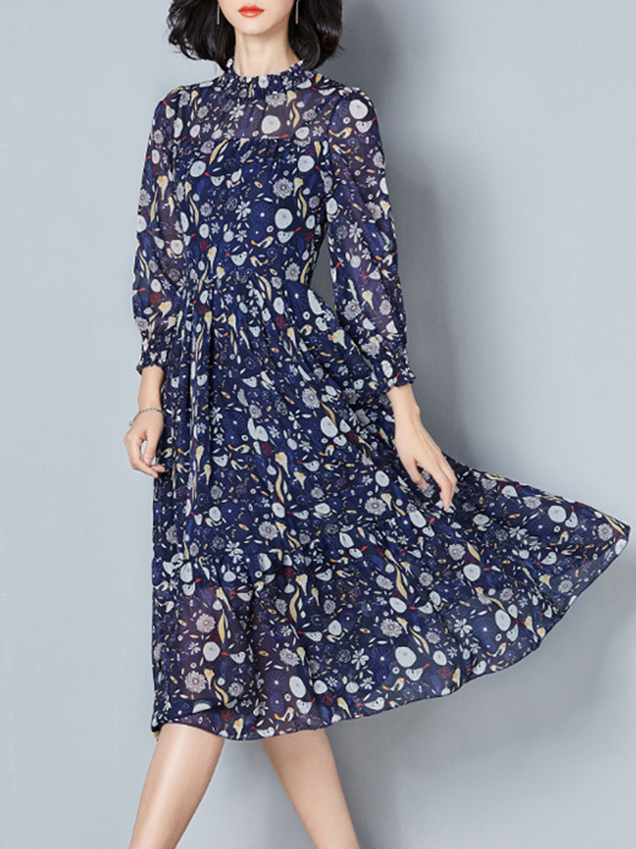 Band Collar Hollow Out Printed Chiffon Midi Skater Dress