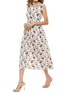 Floral Printed Round Neck Midi Skater Dress