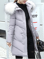 Hooded Pocket Quilted Plain Padded Long Coat