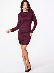 Open Shoulder Two Way Plain Bodycon Dress