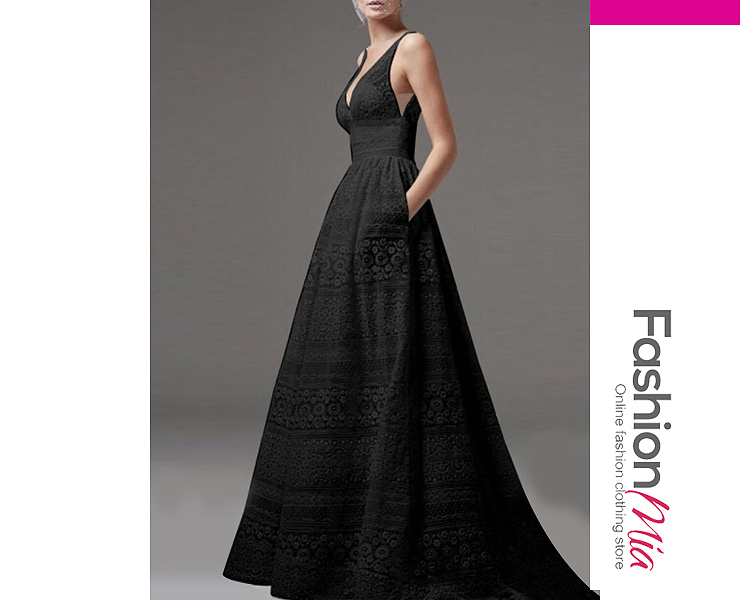 Deep V-Neck Hollow Out Plain Lace Evening Dress