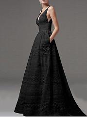Deep-V-Neck-Hollow-Out-Plain-Lace-Evening-Dress