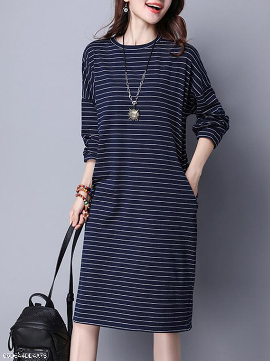 Round Neck  Striped Casual Shift Dress